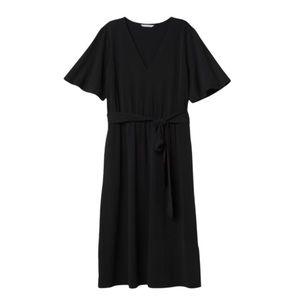 H&M Black Calf Length Jersey V-Neck Tie Belt Dress
